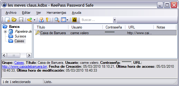 Finestra del KeePass