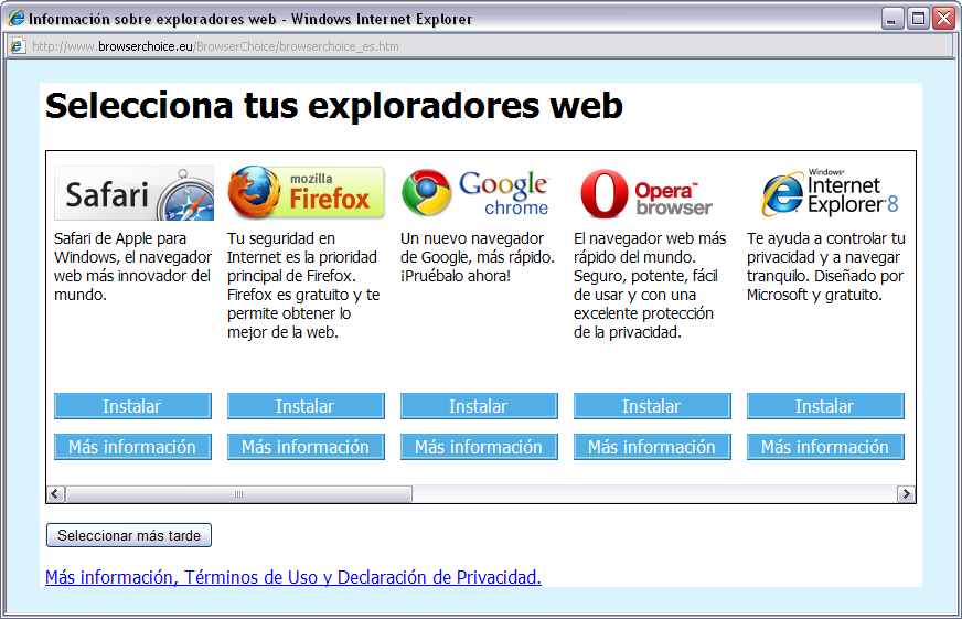 Pantalla de tria de navegadors