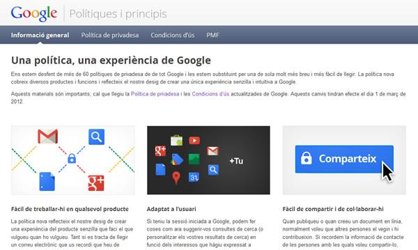 Lloc web de política de privacitat de Google