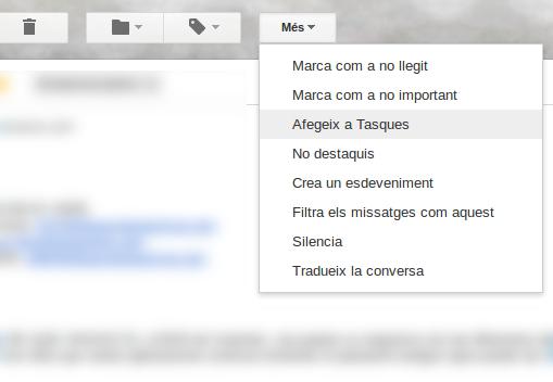 Tasca a partir de correu de Gmail