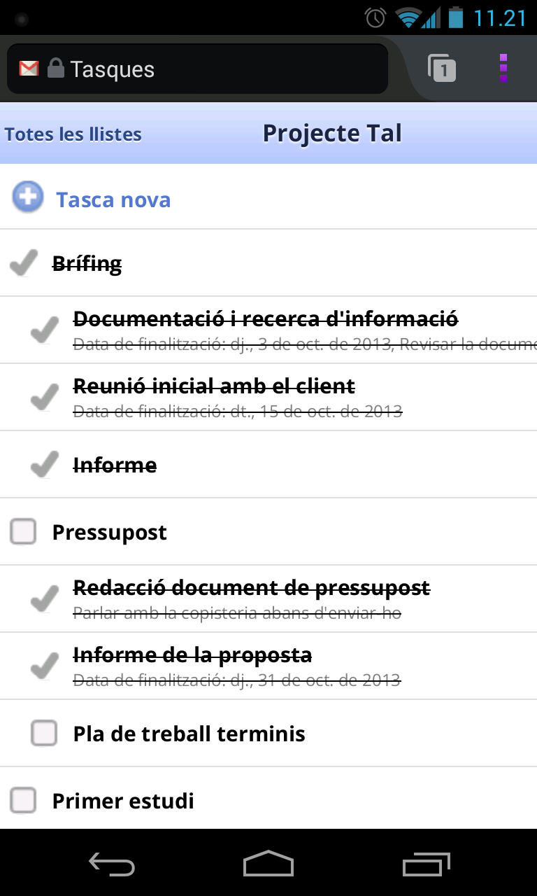 Google Tasks mòbil