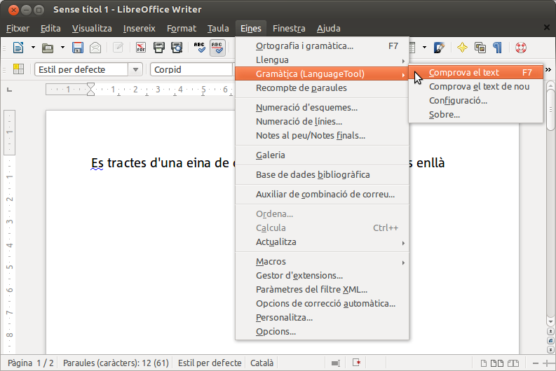 LanguageTool al LibreOffice
