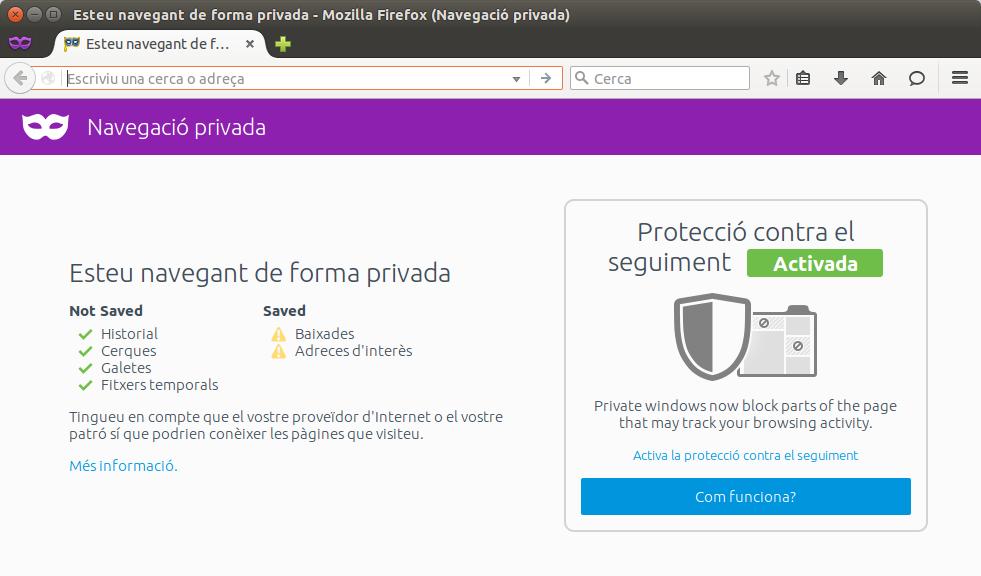 Navegació privada al Firefox 42